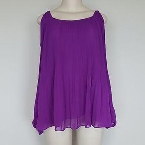 INC purple pleated cold shoulder blouse-XL